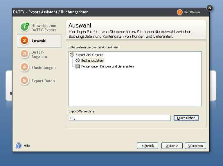 Datev-Export Verzeichnisauswahl