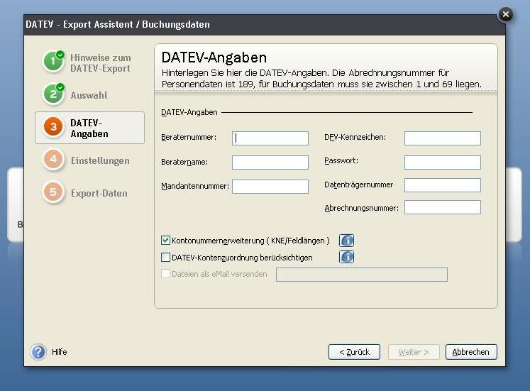Angaben zum Datev-Export