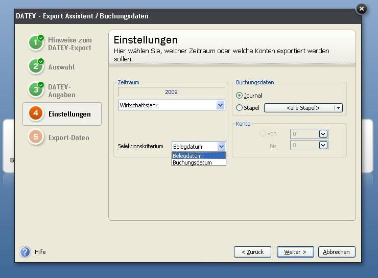 Datev-Export - Buch- oder Belegdatum