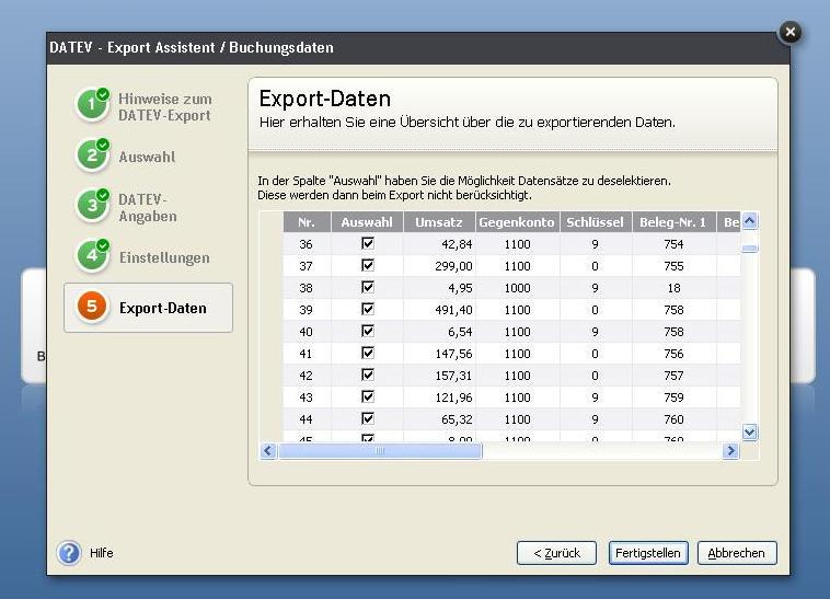 Datev-Export - Liste der Buchungen