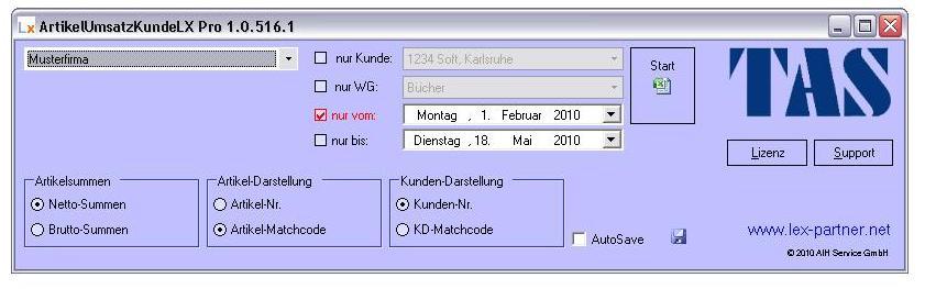 Nutzeroberfläche von ArtikelUmsatzKundeLX Pro
