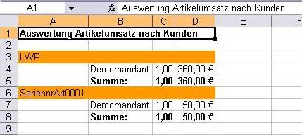 Auswertung ArtikelUmsatzKundeLX Pro mit Kundeneinschränkung