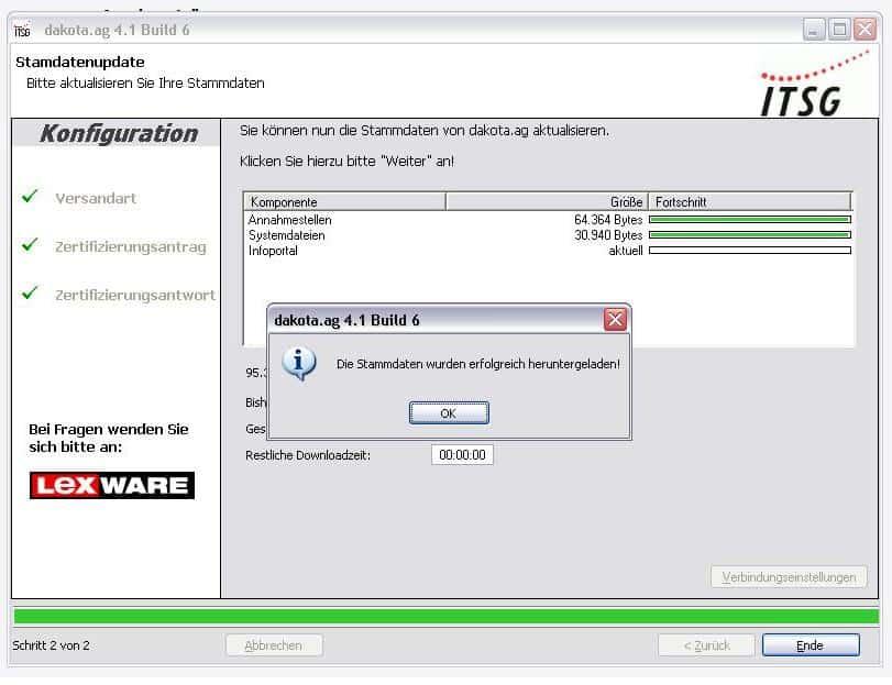 Stammdaten-Download erfolgreich