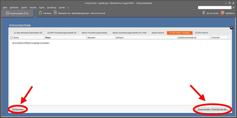 pic: Lexware lohn+gehalt Antwortzentrale - Konfiguration / Versand