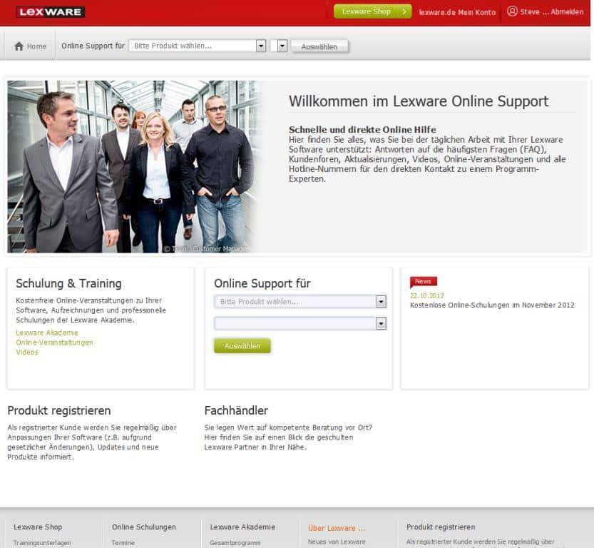pic: Lexware Support-Seiten in neuem Design