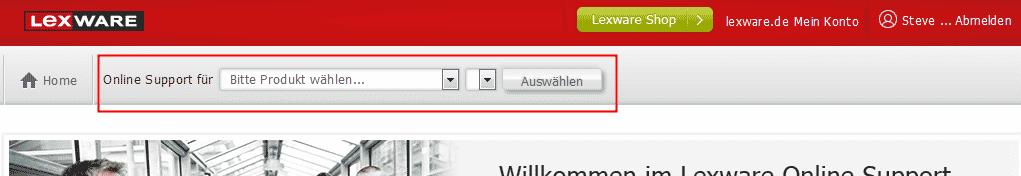 pic: Produkt- und Versionsauswahl Lexware Support-Seite