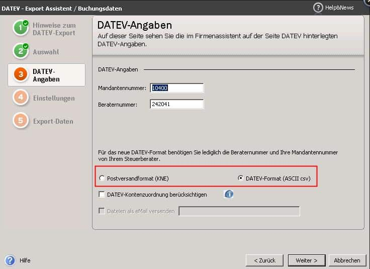 Datev-Export - neues Format ab Version 2013