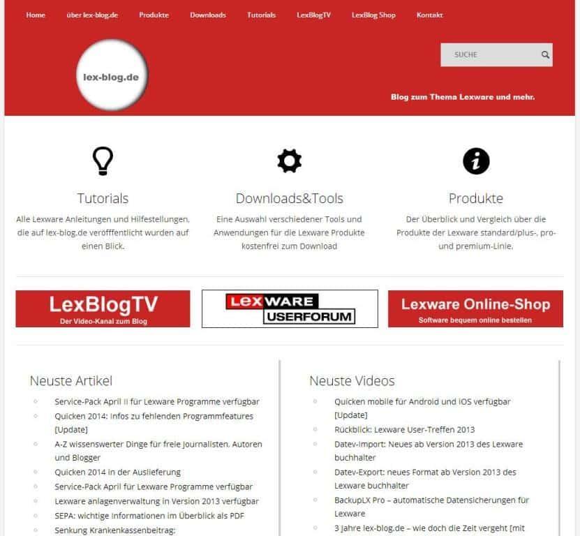 lex-blog.de Startseite neu ab 18.04.2013