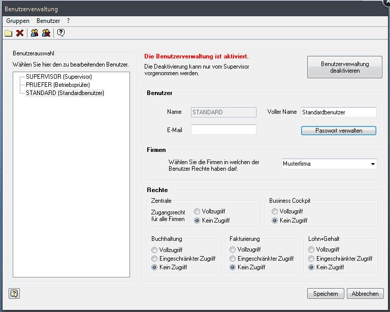 Lexware Benutzerverwaltung standard/plus