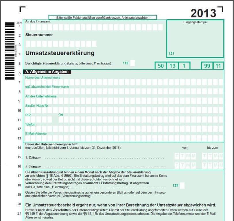 Umsatzsteuererklärung 2013