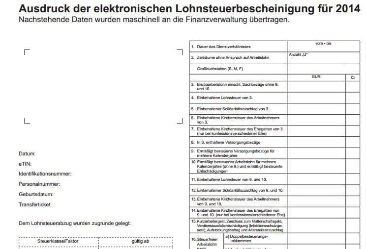 Lohnsteuerbescheinigung 2014