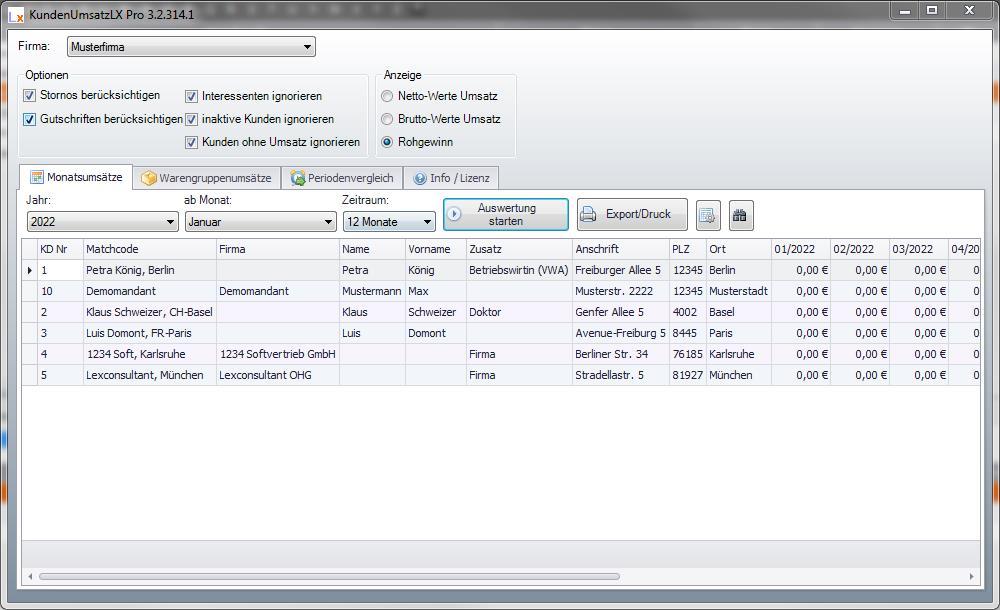 KundenUmsatzLX Pro Screenshot