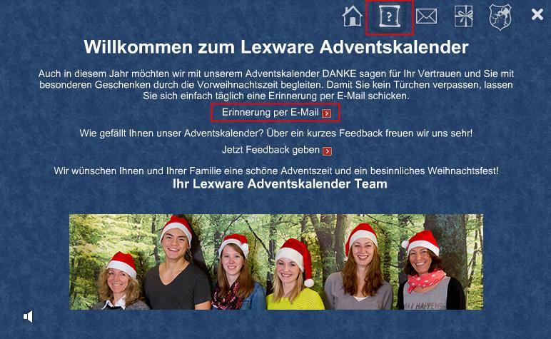 Lexware Adventskalender Erinnerung