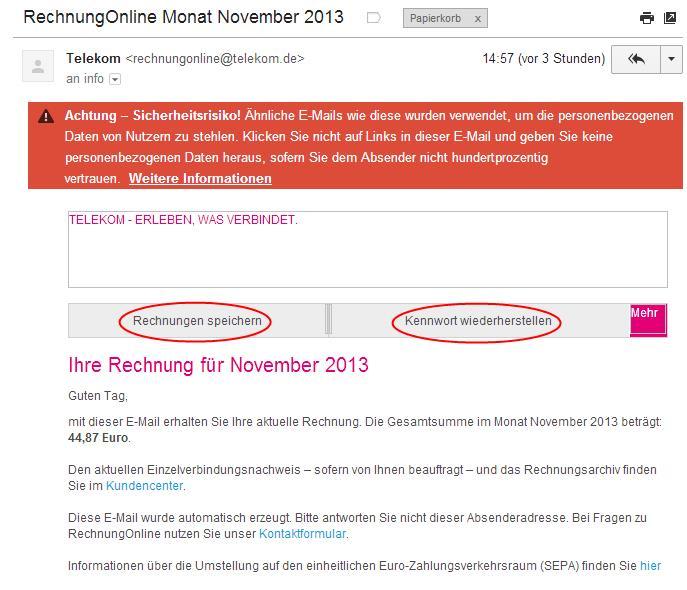 Telekom Fake Mails