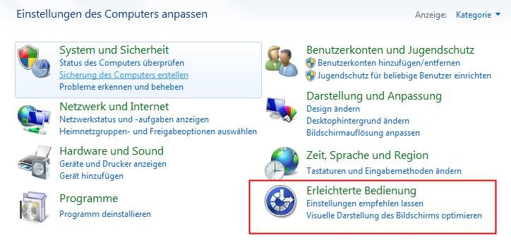 Windows 7 - Erleichterte Bedienung