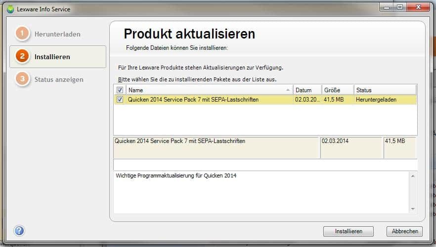 Download SP 7 für Quicken 2014 in LISA