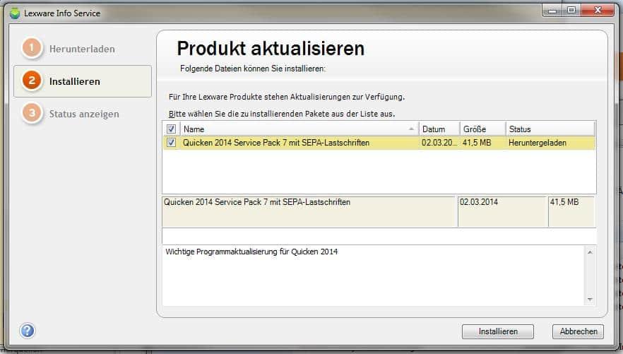 Download SP 7 für Quicken 2014 in LISA