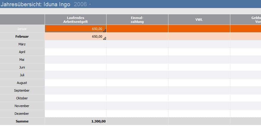 Lexware lohn+gehalt Ansicht Jahresübersicht