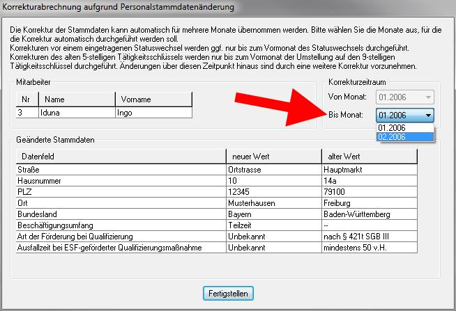 lohn+gehalt Korrekturabrechnung Personalstammdatenänderung