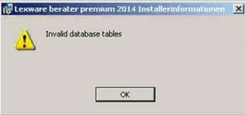 invalid database tables