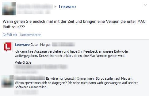 Anfrage Lexware Mac