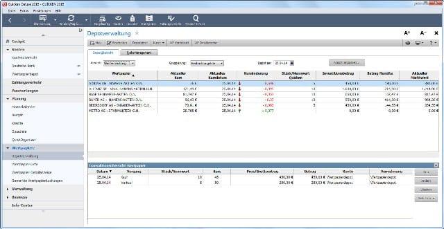 Screenshot Depotverwaltung Quicken 2015