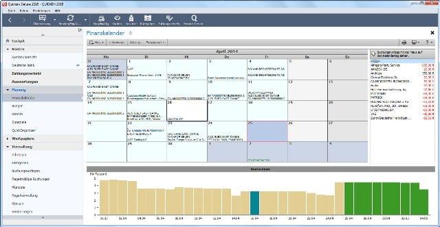 Screenshot Finanzkalender Quicken 2015
