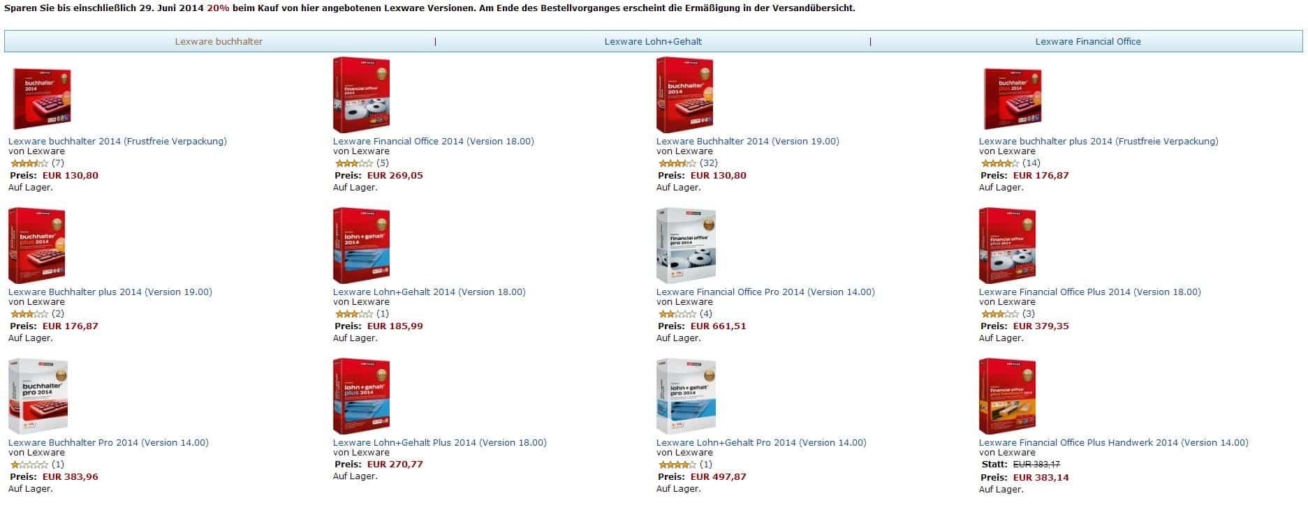 20 Prozent Aktion Amazon bis 29.06.2014