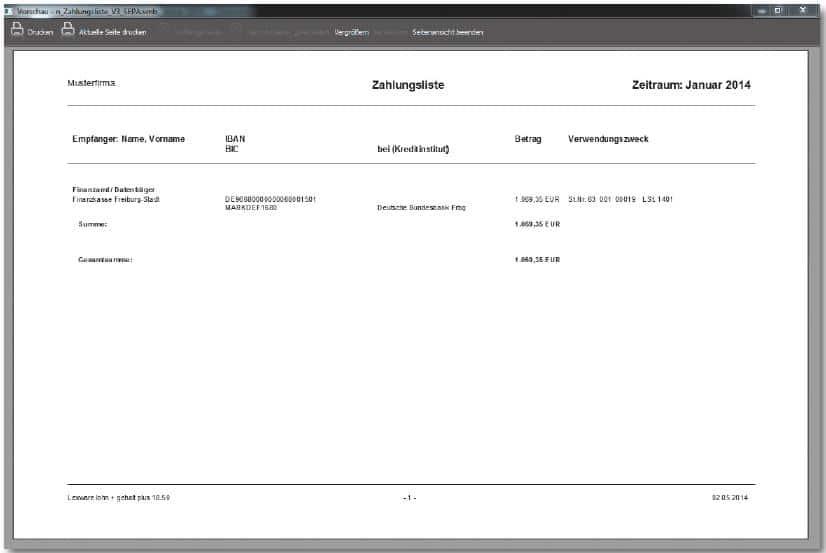 Lexware lohn+gehalt Zahlungsliste neu Juni 2014