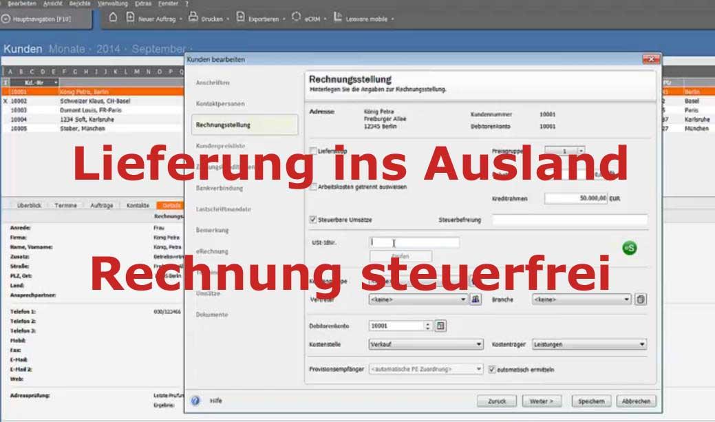 Rechnung Ins Ausland : steuerfreie rechnung lexware auftr ge bei lieferung ins ausland lex blog ~ Themetempest.com Abrechnung