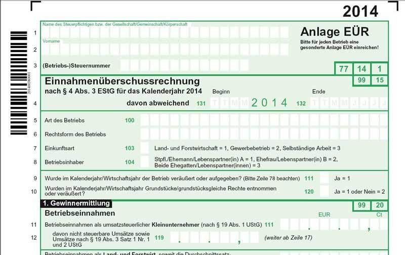 formulare einnahmen berschussrechnung anlage e r 2014