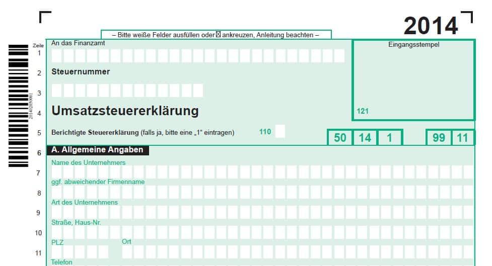 Umsatzsteuererklärung 2014