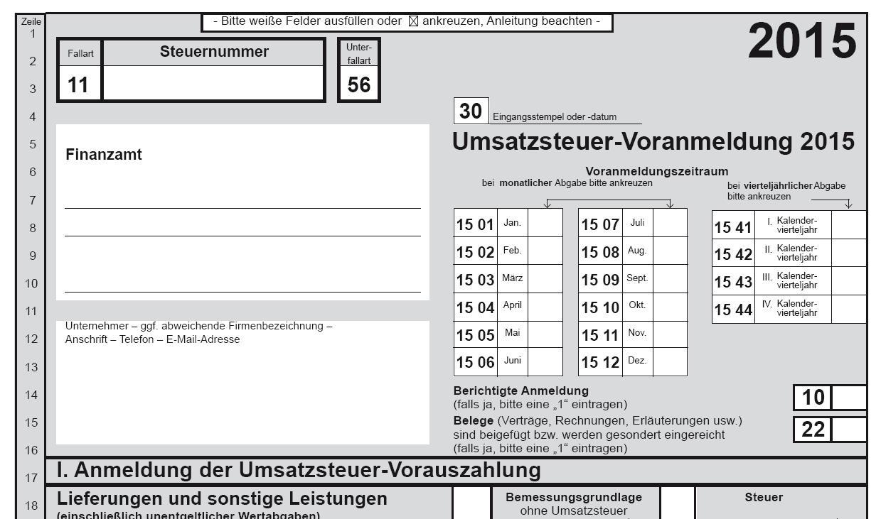 Umsatzsteuervoranmeldung 2015