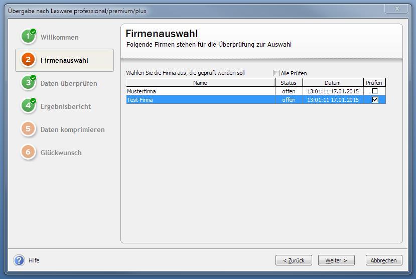 Übergabe an Lexware Programme