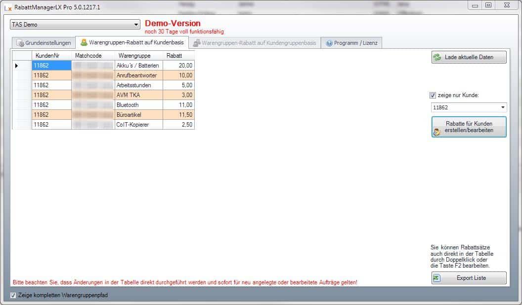 Rabattübersicht RabattManagerLX Pro