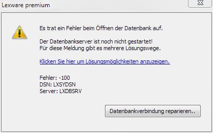 Fehler -100 Lexware Datenbankserver