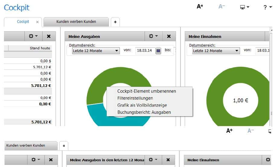 FinanzManager 2016 - Cockpit Element umbennen
