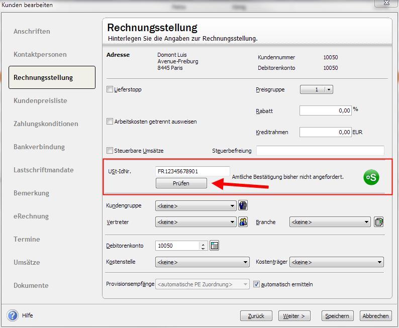 Prüfung Umsatzsteuer-ID in Lexware