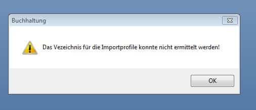 Fehlermeldung: Verzeichnis für Importprofile konnte nicht ermittelt werden