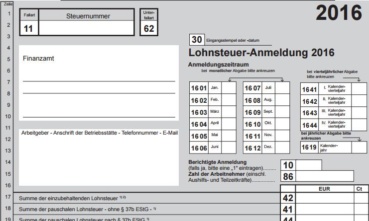 Lohnsteuer-Anmeldung 2016