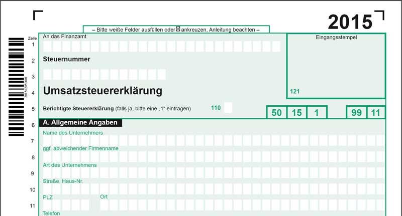Muster Umsatzsteuererklärung 2015