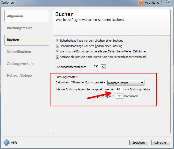 Extras - Optionen - Buchen - Lexware pro/premium