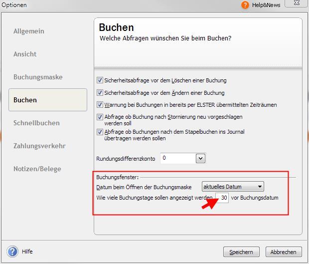Extras - Optionen - Buchen - Lexware std/plus