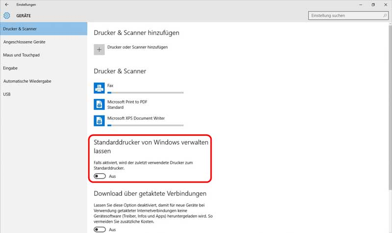 Standarddrucker Windows 10 Herbst-Update