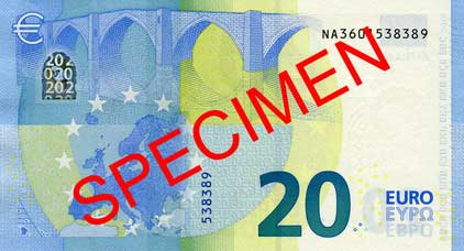 Muster neue Euro Banknote 20 Serie 2