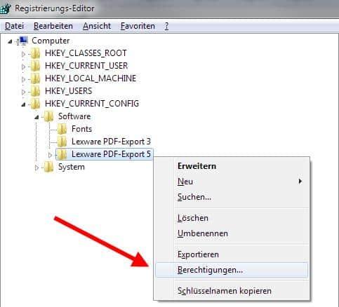 Berechtigung PDF-Export Drucker Registry