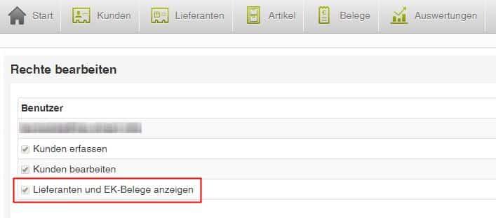 Lexware mobile - Rechteverwaltung Lieferanten