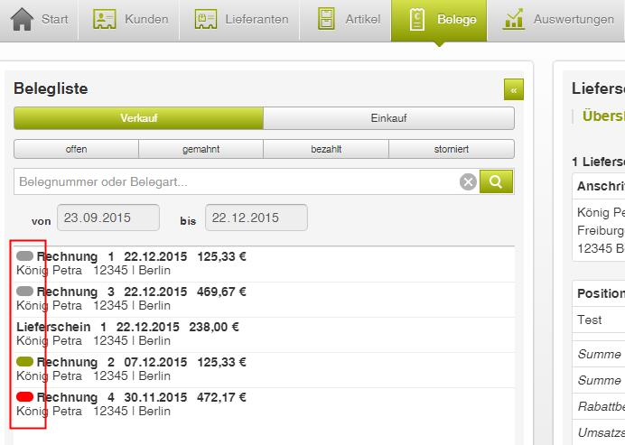 Lexware mobile - Statusanzeige Beleg