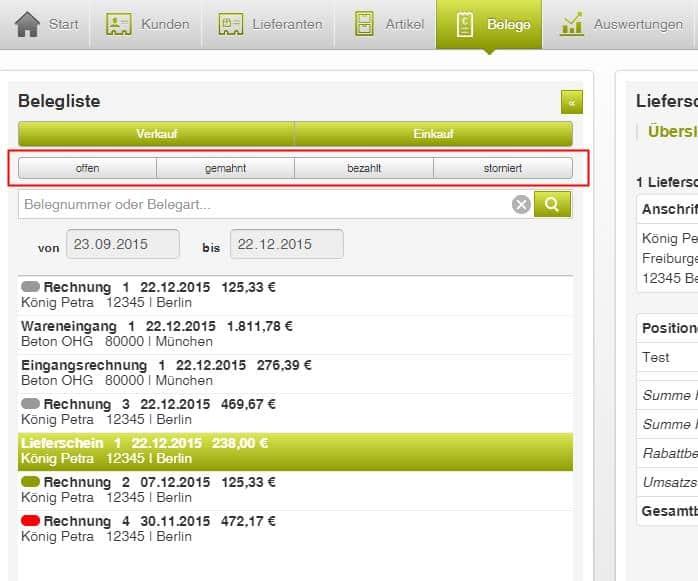 Lexware mobile - Statusfilter Belege