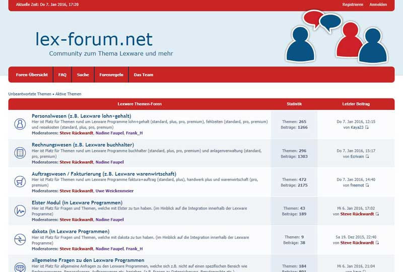 Screen lex-forum Community